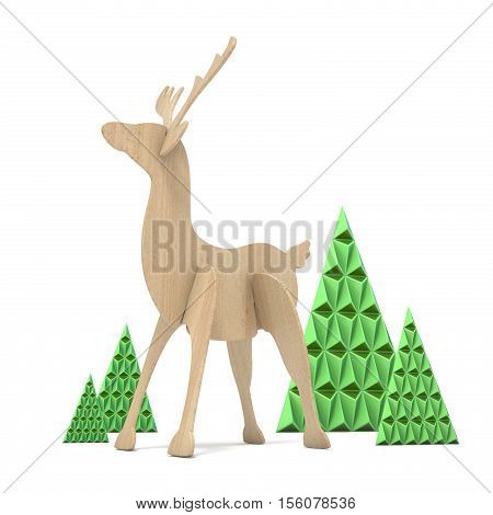 Wooden Reindeer And Abstract Triangulated Trees. 3D