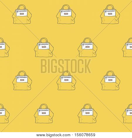 Seamless vector illustration with cute yellow handbags in a row in fashion stylish pattern. Hand drawn background drawn with imperfections on yellow background