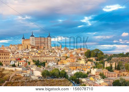 Old city of Toledo with Alcazar at sunset, Castilla La Mancha, Spain