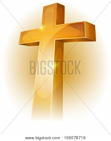 Illustration of a golden christian cross bright and shining