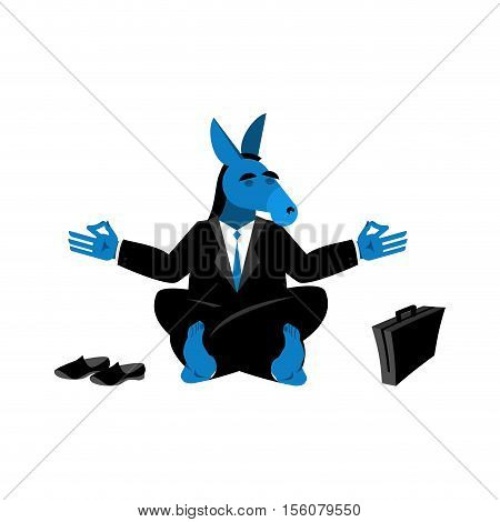 Blue Donkey Democrat Meditating. Symbol Of Usa Political Parties. Illustration For Presidential Elec