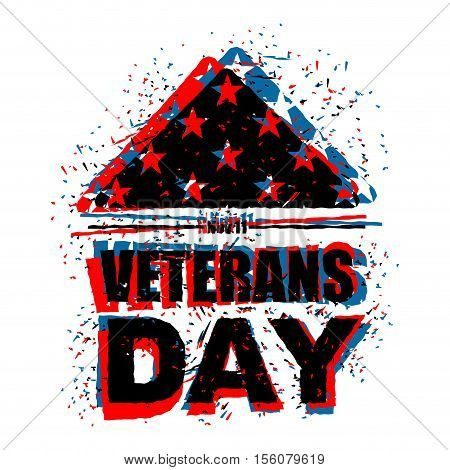 Veterans Day In Usa. Flag America Folded In Triangle Symbol Of Mourning. National Sign Of United Sta