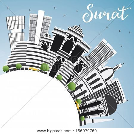 Surat Skyline with Gray Buildings, Blue Sky and Copy Space. Business Travel and Tourism Concept with Historic Architecture. Image for Presentation Banner Placard and Web Site.