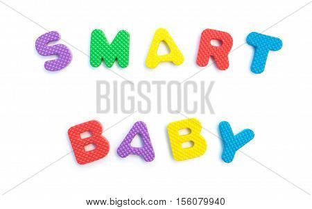 word of smart baby shaped by alphabet puzzles on white