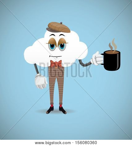Sleepy Cartoon Cloud Character Drinking Coffee on Blue Background.