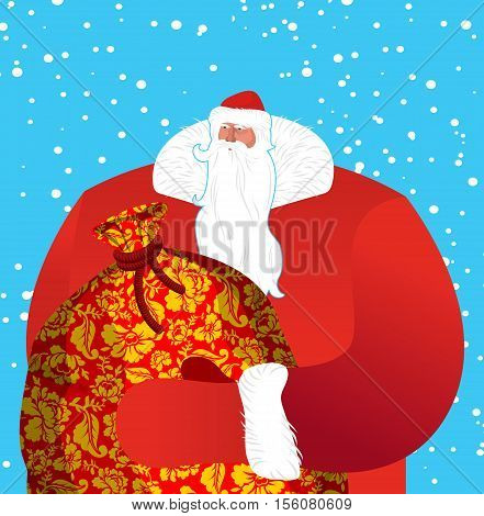 Russian Santa Claus- Father Frost. Great Grandfather In Red Suit Carries Big Sack Of Gifts For Child