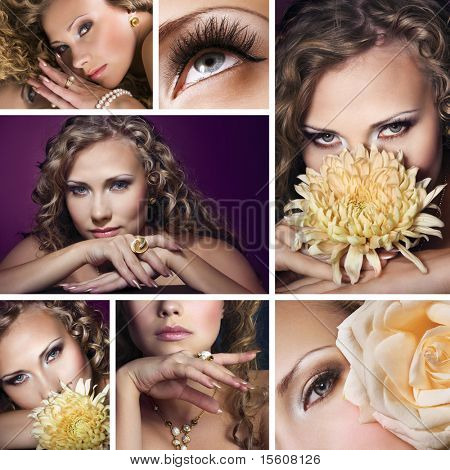 Collage of several photos for fashion and beauty industry