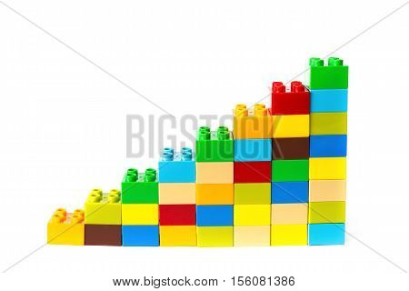 toy bricks shape as a growing trend on white background