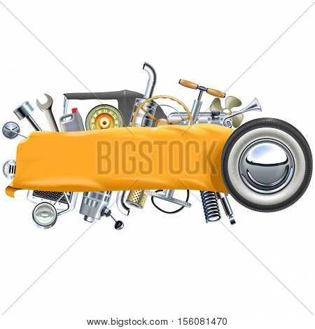 Vector Banner with Retro Car Spares isolated on white background