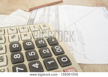 document monthly credit card slip account on table