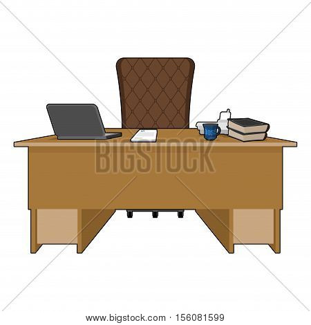 Boss Table. Business Office. Leader Supervisor. Director Desktop. Laptop And Phone. Cup Of Coffee An