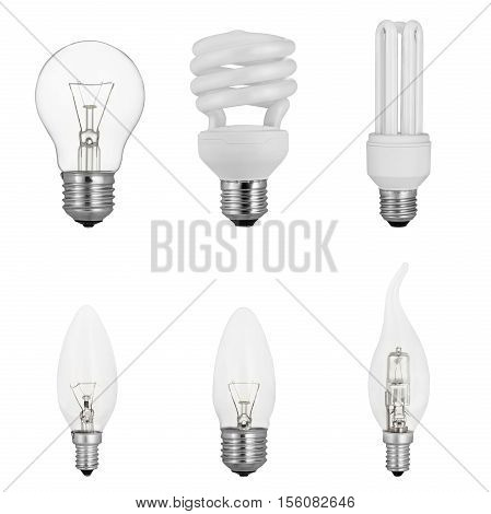 Set of traditional tungsten light bulbs isolated on white background.
