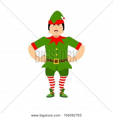 Angry Christmas Elf. Aggressive Assistant Of Santa Claus. Grumpy Little Man In Green Suit. Xmas Char