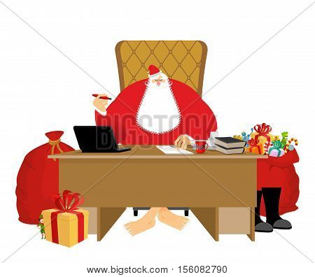 Santa Claus Residence. Christmas Big Boss In Work Office. Jobs And Armchair Chief. Elf Helper In Gre