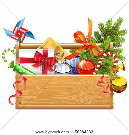 Vector Christmas Toolbox isolated on white background
