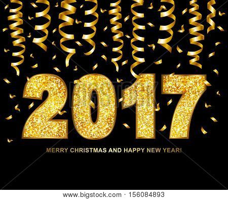 Happy new year 2017 type gold glitter texture with serpentine and confetti isolated on black background. Vector illustration.