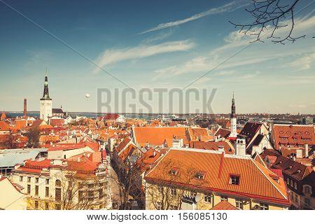 Old Town Of Tallinn Panoramic Skyline