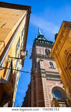 Street View Of Old Stockholm Town