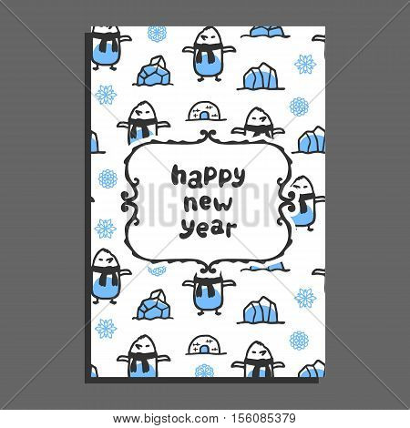 Happy new year card template with cute cartoon penguin. Vector doodle icebergs, igloo. Arctic bird wears scarf