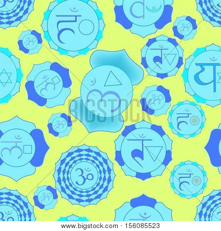 Indian Chakra Seamless Pattern Color Vector Illustration