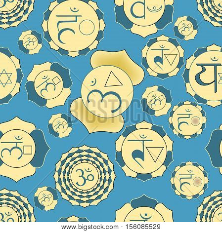 Indian Chakra Seamless Pattern Of Yellow And Blue Vector Illustration