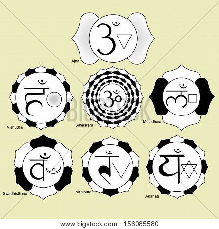 Indian Chakra Set Of Black And White Logo Vector Illustration