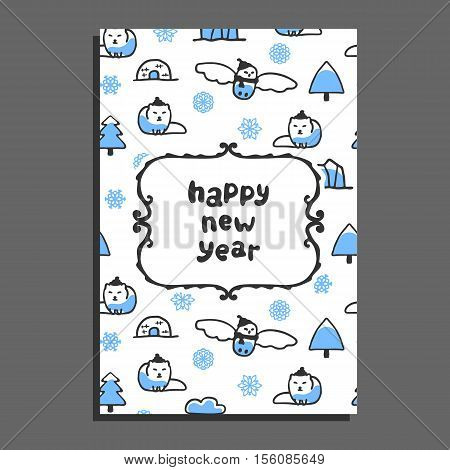Happy new year card template with cute cartoon snowy owl and arctic fox. Vector doodle icebergs, igloo