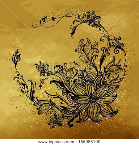 The raster version Flower frame on a gold background . Hand drawn flowers.