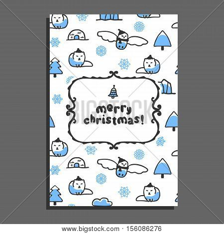 Merry christmas greeting card template with cute cartoon snowy owl and arctic fox. Vector doodle icebergs, igloo