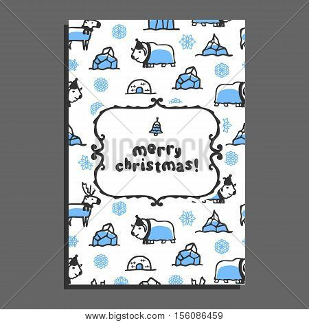 Merry christmas greeting card template with cute cartoon reindeer and musk-ox. Vector doodle arctic animals, snowflakes, igloo