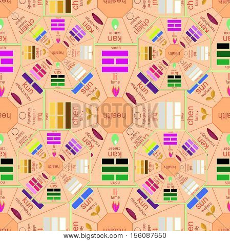 Seamless Pattern Square Chinese Feng Shui Bagua Pink. Vector Illustration