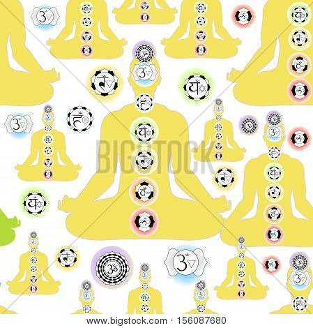 seamless pattern yellow man sitting in lotus position meditating with chakra. vector illustration