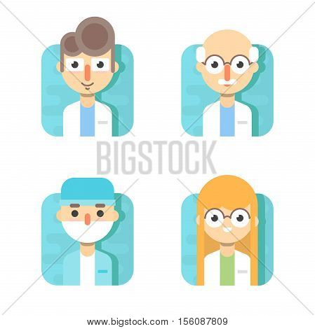 Doctors and other hospital staff: general doctor, therapist, surgeon and otolaryngologist.
