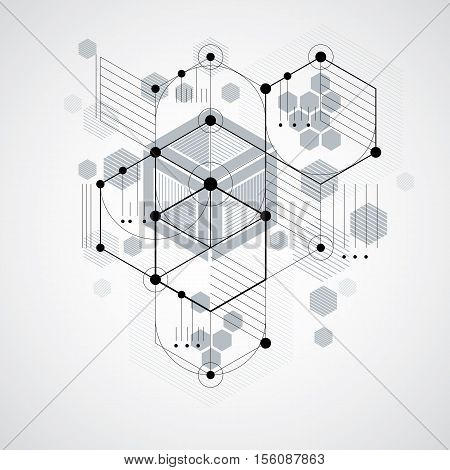 Modular Bauhaus Vector Background, Created From Simple Geometric Figures Like Hexagons, Circles And