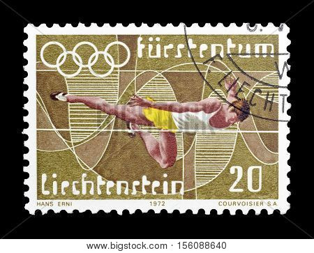 LIECHTENSTEIN - CIRCA 1972 : Cancelled postage stamp printed by Liechtenstein, that shows High jump.