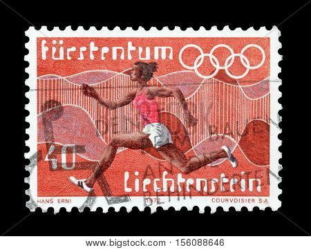 LIECHTENSTEIN - CIRCA 1972 : Cancelled postage stamp printed by Liechtenstein, that shows Running.