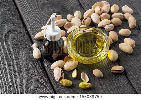 Pistachio and pistachio food and cosmetic oil. It is used in dietary and healthy nutrition cosmetics skin care. The source of vitamins and polyunsaturated fatty acids