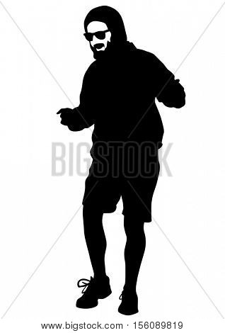 Danser men in rap style on white background