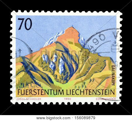 LIECHTENSTEIN - CIRCA 1990 : Cancelled postage stamp printed by Liechtenstein, that shows Galinakopf mountain.