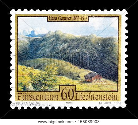 LIECHTENSTEIN - CIRCA 1993 : Cancelled postage stamp printed by Liechtenstein, that shows Painting by Hans Gantner.