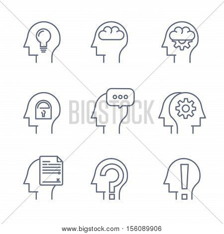 Thin line icons set of human mind, thinking process, learning. Line logo