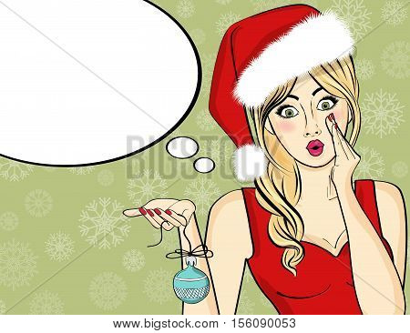Pop Art Santa Girl. Pin Up Santa Girl. Santa Girl With Speech Bubble