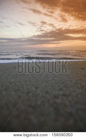early morning sunrise on the Atlantic Ocean beach, Outer Banks, North Carolina
