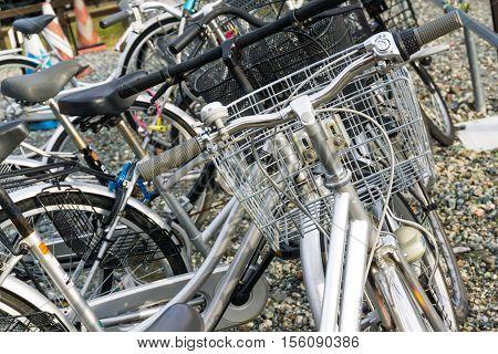 Crowded Of Parking Bicyles At Shinoyoshida Railway Station