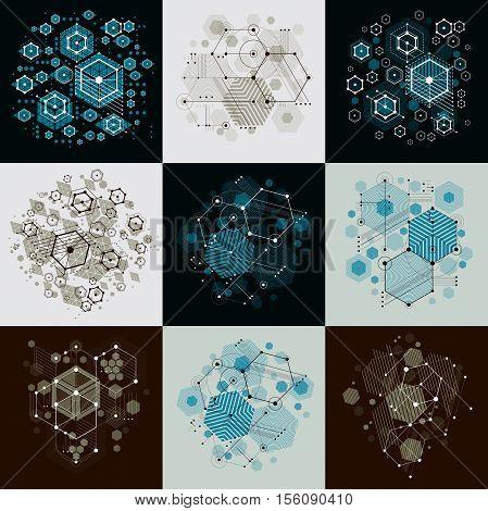 Bauhaus Art Composition. Set Of Decorative Modular Vector Wallpapers With Circles And Hexagons. Retr