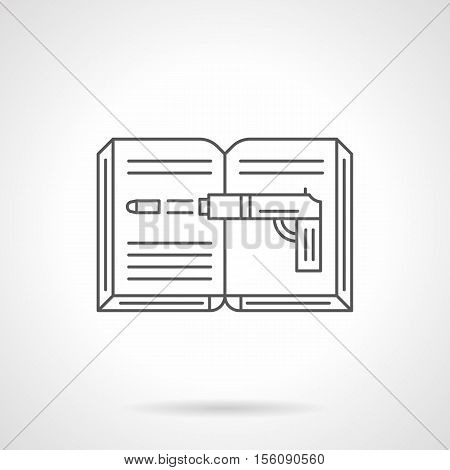 Symbol of crime novel. Open book with image of shooting gun. Detective, thriller and other stories. Genres of literature concept. Flat black line vector icon.