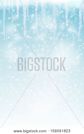 Abstract winter background with snowflakes and icicles - vector illustration