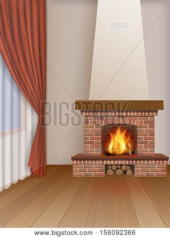 Living room interior with brick fireplace and window, decorated red curtain. Perspective view on corner of wall.