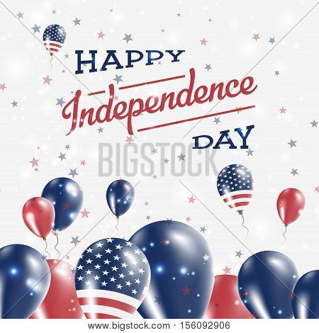 United States Independence Day Patriotic Design. Balloons In National Colors Of The Country. Happy I