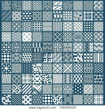 Vector Ornamental Black And White Seamless Backdrops Set, 100 Geometric Patterns Collection. Ornate